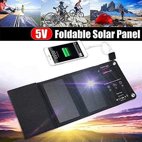 M&Rxiaosa Caricabatterie Solare, Power Bank con Batteria Portatile Impermeabile A 5 Pannelli Solari per iPhone, iPad, Samsung, Tutti Gli Smartphone, attività All'aperto