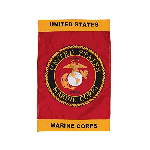 Emblem Applique - In the Breeze U.S. Marine Corps Emblem Garden Flag - Military Service Flag - Embroidered and Appliqué Design