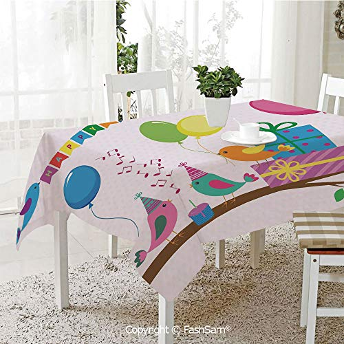 FashSam 3D Print Table Cloths Cover Singing Birds Happy Birthday Song Flags Cone Hats Party Cake Waterproof Stain Resistant Table Toppers(W60 -