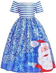 OMZIN Girl's Christmas Zipper Bowknot Dress Cap Sleeve Ball Gown D