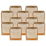 Just Artifacts Mercury Glass Square Votive Candle Holder 2.25'' H (12pcs, Speckled Gold) - Mercury Glass Votive Tealight Candle Holders for Weddings, Parties and Home Décor