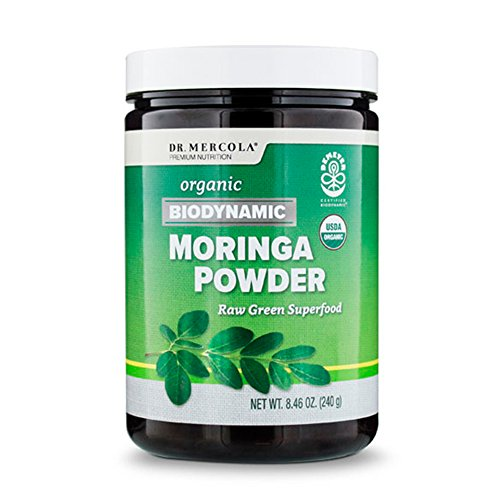 Dr. Mercola Biodynamic Moringa Powder – 8.46oz – 100% USDA Organic Dried Moringa Leaves – Raw Green Superfood Dietary Supplement – Powerful Antioxidants, Calcium, Iron & Potassium – Supports