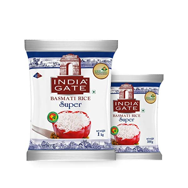 INDIA GATE Super Premium Basmati Rice | Aged Rice with Long Grains & Rich Aroma | 1 kg Pack with Extra 500g Free 2021 June India Gate Super Basmati Rice is a premium quality aged Basmati rice Ideal for cooking those special dishes like Rajma Chawal, Chettinad Chicken Curry, Kadhi Chawal, Machhi Bhaat, Sambhar Rice, Lemon Rice and the likes Long and slender grains which elongate up to three times in length when cooked