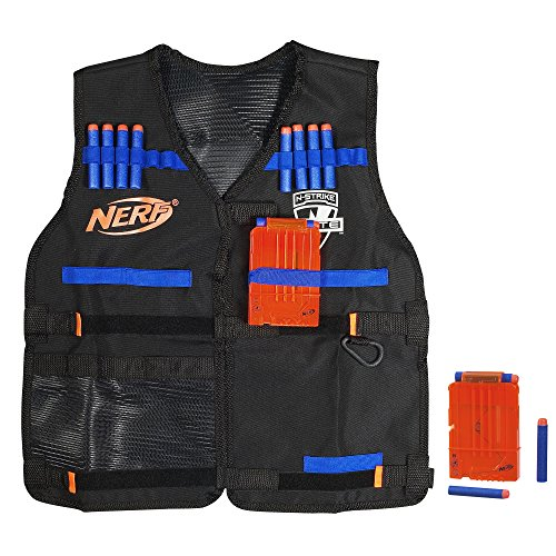 Official Nerf Tactical Vest N-Strike Elite Series Includes 2 Six-Dart Clips and 12 Official Nerf Elite Darts For Kids, Teens, and Adults (Amazon Exclusive) (Nerf N Strike Elite Tactical Vest Kit)