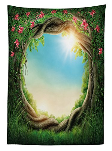 """Ambesonne Tree Tablecloth, Enchanted Forest in Spring Fresh Growth Foliage with Blossoms Fairytale Fantasy, Dining Room Kitchen Rectangular Table Cover, 60"""" X 84"""", Blue Green"""