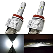 Alla Lighting A9 LED Headlight Bulbs w/ High Power LUMILEDS LUXEON ZES Chip,8000Lm 6000K White Lamps (H11(H8/H9))