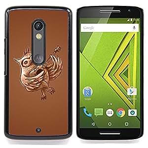 For Motorola Verizon DROID MAXX 2 / Moto X Play - Funny Guitar Owl /Modelo de la piel protectora de la cubierta del caso/ - Super Marley Shop -
