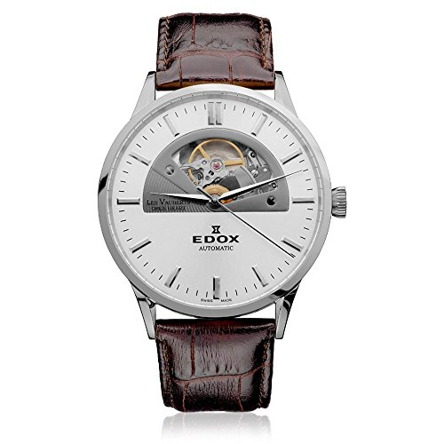 - Edox Men's 85014 3 AIN Les Vauberts Open Heart Automatic Silver Dial Exhibition Sapphire Crystal Watch