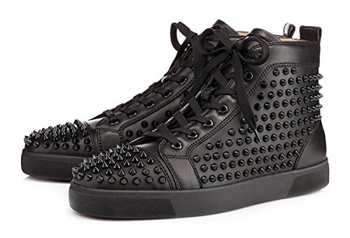 ZXD Round Toe High Top Sports Sneakers Lace up Fashion Skateboard Flats Studded Trainers Shoes Black 9.5 D(M) US Men/11 B(M) US Women