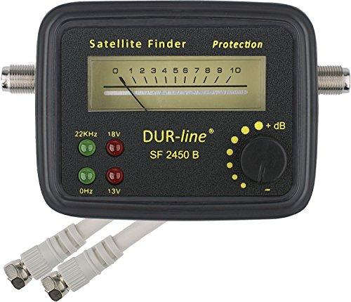 DUR-line® SF 2450 B - Satfinder - Messgerät mit Gummi-Schutzhülle zur exakten Justierung Ihrer Digitalen Satelliten-Antenne - mit hoher Eingangsempfindlichkeit - inkl. F-Kabel und ausführlicher deutscher Anleitung