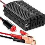 FosPower 300W Car Power Inverter Converter DC 12V/40A to AC 110V Dual Outlet with 4.8A Dual USB Outputs