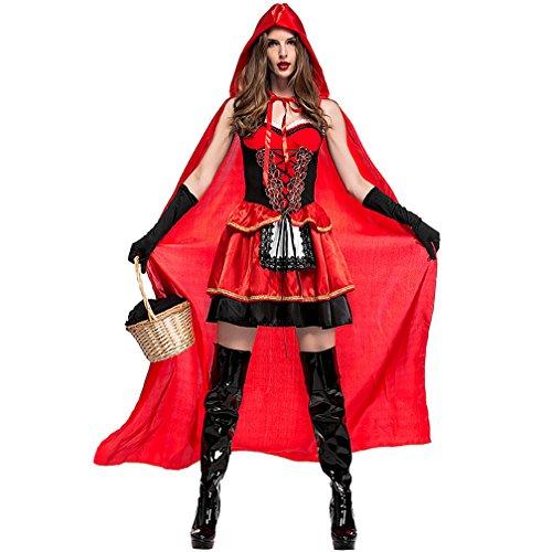 Boleyn Little Red Riding Hood Costume Sexy Halloween Fairy Tale Dress for Women (Evil Red Riding Hood Costumes)
