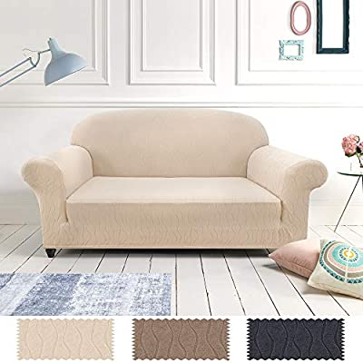 Astounding Lazzzy Sofa Slipcover Loveseat Cover Beige Spandex Sofa Protector For 2 Cushion Couch 2 Seats Fitted Jacquard Fabric One Piece Caraccident5 Cool Chair Designs And Ideas Caraccident5Info