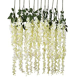 Duosuny 3.6 Feet Artificial Wisteria Vine Ratta Silk Hanging Flower Plant, 12 Pieces (White) 6