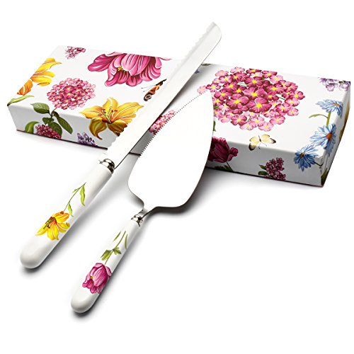 HOBO 2-Piece Wedding Cake Knife and Server Set Herb Garden Ceramic Stainless Steel Cake Bread Pie Knife Server Flatware Set Party Set For Personalized Weddings, Mothers Day, Birthdays