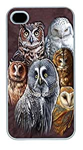 IPhone 4S Cases Owls Polycarbonate Hard Case Back Cover for iPhone 4/4S White