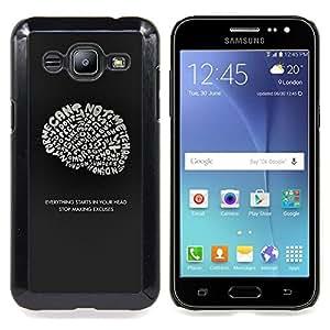 "Qstar Arte & diseño plástico duro Fundas Cover Cubre Hard Case Cover para Samsung Galaxy J2 / J200 (Cerebro ideas inspiradoras Genius Cita"")"