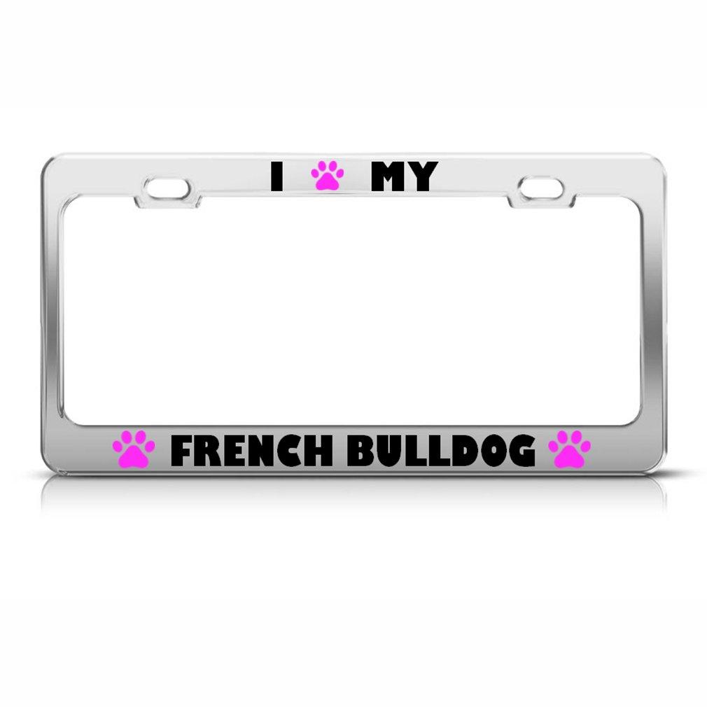 Französische Bulldogge Paw Love Hund Nummernschild Rahmen Edelstahl ...