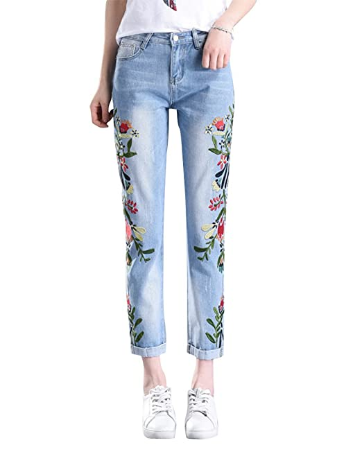 97d0541d01 ZiXing Le Donne dei Fiori Ricamati Caviglia Denim Pantaloni Boyfriend Jeans  Slim Fit