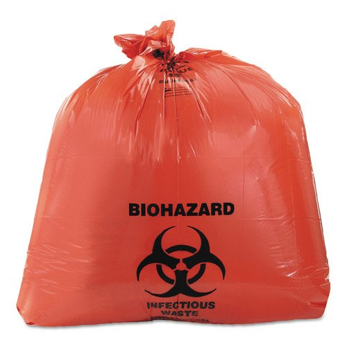 - Heritage A8046ZR Healthcare Biohazard Printed Can Liners, 40-45 gal, 3mil, 40 x 46, Red, 75/CT