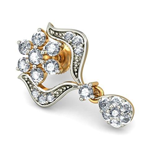 Or jaune 14K 0,66CT TW White-diamond (IJ | SI) Pendants d'oreilles