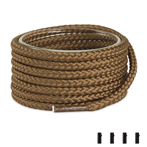 nd Heavy Duty Bootlaces for Boat Shoes and Boots with 4 Shoelace Aglets, Brown, 54