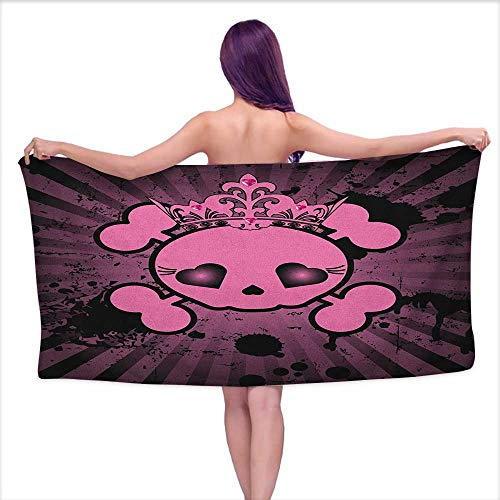 Andasrew Bath Towel 3D Digital Printing Set Skull,Cute Skull Illustration with Crown Dark Grunge Style Teen Spooky Halloween Print, Pink Black,W28 xL55 for Kids -