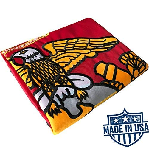 US Marine Corps Flag 3x5 for Outdoor Made in USA - All Weather USMC Flag with Magnificent Double-Sided Embroidery - UV Protected - Brass Grommets - Comes with Bonus Car Sticker (Cheap Outdoor Flags)
