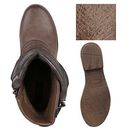 Stiefelparadies Damen Stiefeletten Metallic Biker Boots Leicht Gefütterte Stiefel Block Absatz Booties Schnallen Schuhe Damenschuhe Flandell Khaki Kroko