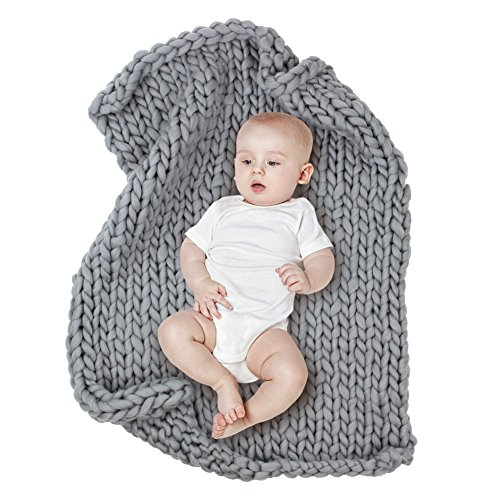 Blanket Knitted Wash - MHJY Baby Chunky Knit Blanket Photo Props Blanket Knitted Infant Photography Backdrop Thick Yarn Blanket Sleeping Blanket for Newborns (Grey (Large))
