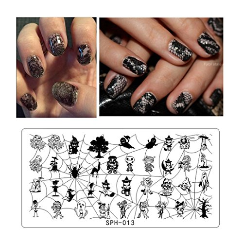 Leewa@ Holiday Themed Nail Art Stamping Plates - Occasions Collection, Halloween+Christmas -6x12cm (Halloween Themed Manicure)