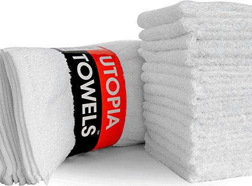 Utopia Towels Washcloths (24 Pack, 12 x 12 Inch) Pure Cotton Wash (White Washcloth)