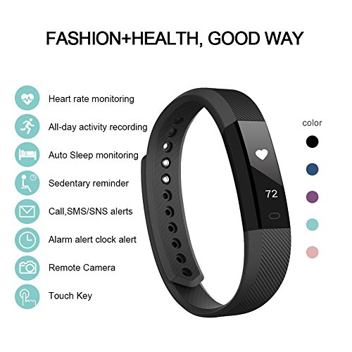 Fitness Tracker, Lintelek Heart Rate Smart Wristband, Sleep Monitor, Steps/ Calorie and Distance Counter Pedometer for Android or IOS Phone