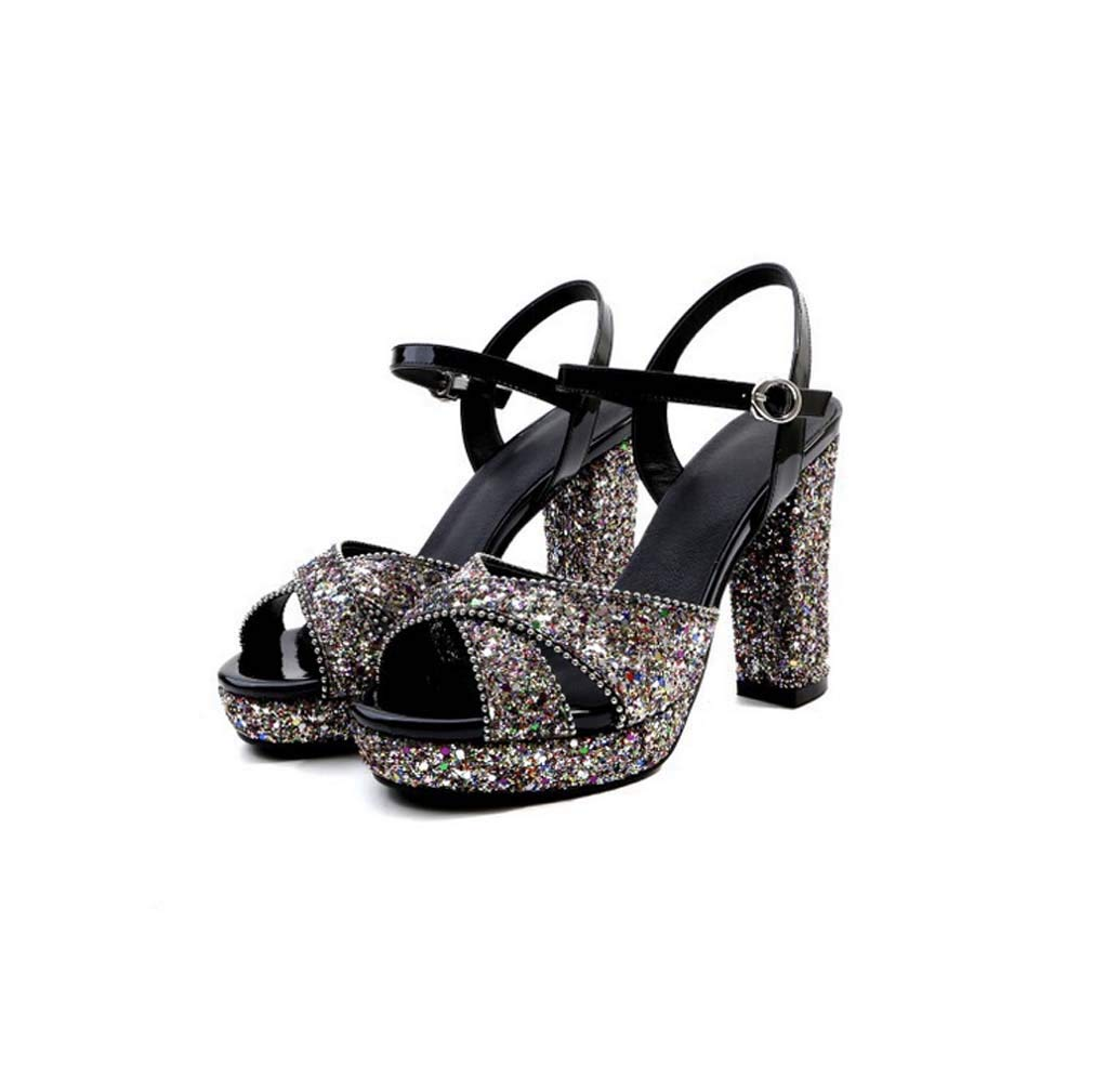 Silver Women's Peep Toe Heeled Sandals,Diamante Slingback High Heel Stiletto Pumps Rhinestone shoes Silver Wedding Evening