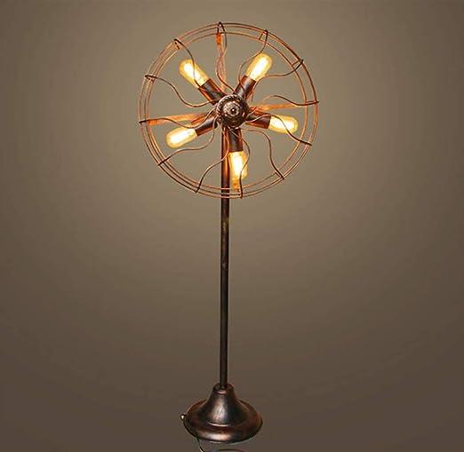 Lámpara de pie ventilador alambre jaula de metal estación de ...
