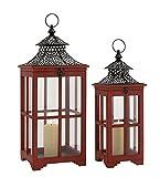 Deco 79 50295 Wood Metal Glass Lantern S/2 21'', 26''H