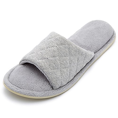 - Women's Comfy Memory Foam Plush Fleece Lined Spa House Slippers with Quilted Cotton Upper (Medium / 7-8 B(M) US, Gray)