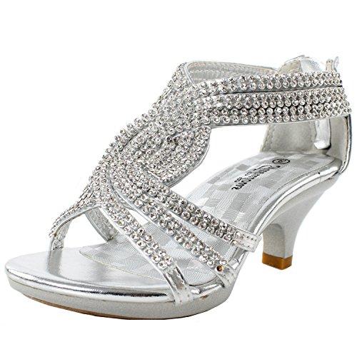 J.J.F Shoes Fabulous Angel-37K Kids Little Girls Bling Rhinestone Platform Dress Heels Sandals,Silver,11 -