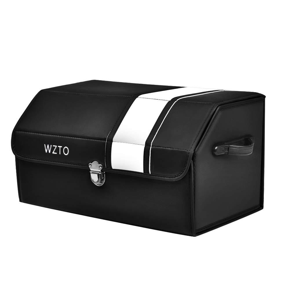 mittlere Gr/ö/ße WZTO Kofferraumtasche Zusammenklappbarer tragbarer Kofferraum-Organizer aus Leder mit Griffen und zusammenklappbarem Deckel Klappbox Kofferraumbox gro/ße F/ächer f/ür Kofferraum