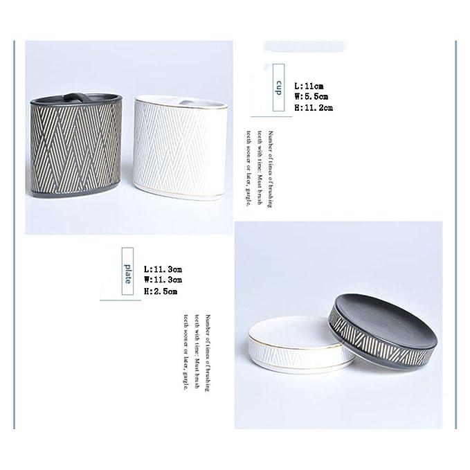 YUSHI Baño de cerámica Europeo de Cinco Piezas Kit de baño Taza de Cepillo de Dientes y Copa de Boca y Taza de Cepillado y Jabonera & Caja de algodón, ...
