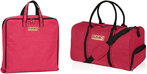 ELESAC Canvas Style Duffel Bag With Matching Fold-able Garment Bag Set for Men and Women