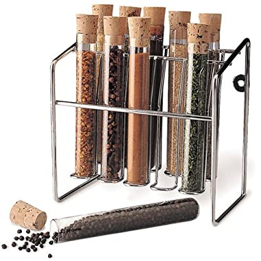 Spice Rack - Glass Spice Tube Set (Silver) (7 h x 7 w x 4.25 d)
