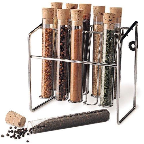 "Spice Rack - Glass Spice Tube Set (Silver) (7""h x 7""w x 4.25""d)"