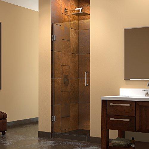 DreamLine Unidoor 28 in. W x 72 in. H Frameless Hinged Shower Door in Brushed Nickel, SHDR-20287210F-04