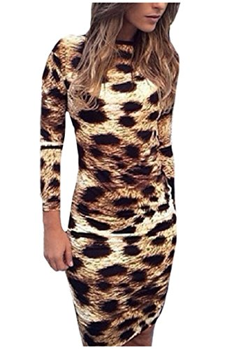 Picture Long As Mini Sleeve Dresses Backless Pencil Women Clubwear Comfy Leopard IavUwg
