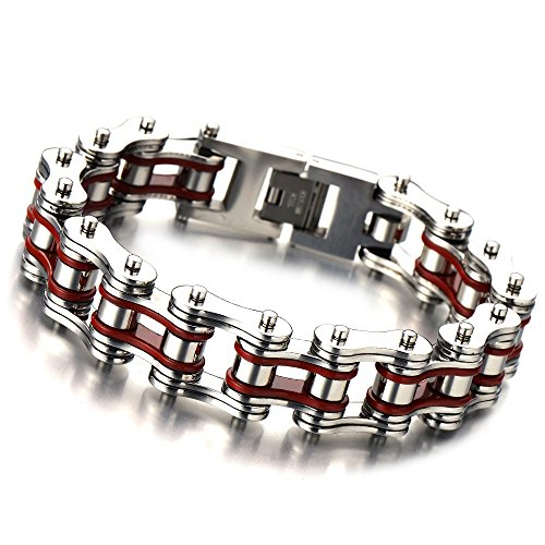 - COOLSTEELANDBEYOND Masculine Mens Bike Chain Bracelet of Stainless Steel Silver Red Two-tone High Polished