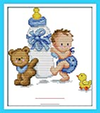 Cross Stitch Embroidery Starter Kit Including 11ct Stamped Aida Pre-Sorted Colored Threads And Tools Cotton Fabric Patterned with Design of Bottle Baby's Birth Certificate (Blue)
