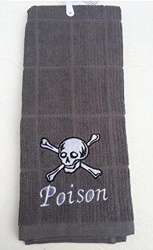 Black Poison Embroidered ~ Skull & Crossbones Hand Towel Set]()