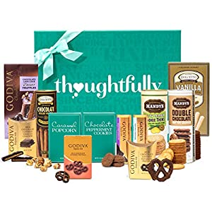Sweet Snacks Deluxe Chocolate Gift Box by Thoughtfully | Includes Godiva Dessert Truffles, Milk Chocolate Pretzels, Caramel Popcorn, Godiva Chocolate Bars, Mandy's Cookies, More Sweet Treats