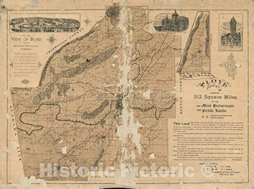 512 Square - Historic 1895 Map   Floyd County, Ga. Embraces 512 Square Miles of The Most Picturesque and Fertile Lands, conceded to The State Cherokee Indians 2 44in x 33in